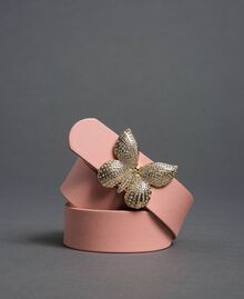 Leather belt with butterfly buckle, regular Mousse Pink Woman 192TA430F-02