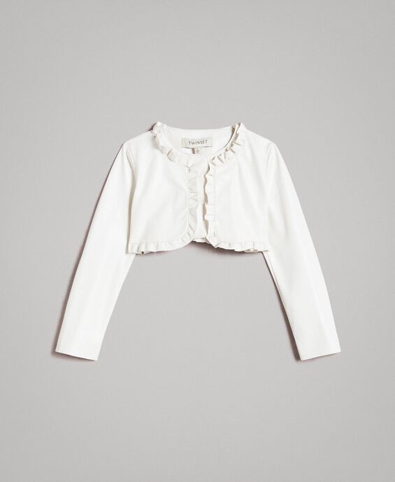 Giacca cropped in similpelle con ruches