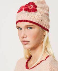 Knit beanie with flowers and sequins Peach Woman 202TA4410-0S