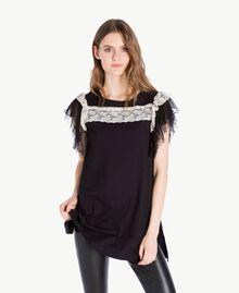 Maxi t-shirt dentelle Noir Femme PS82UD-01