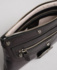 Leather pochette with decorative buckle Black Woman 192TO823H-05