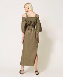 Off-shoulder poplin dress with embroidery Black Woman 211TT2475-05