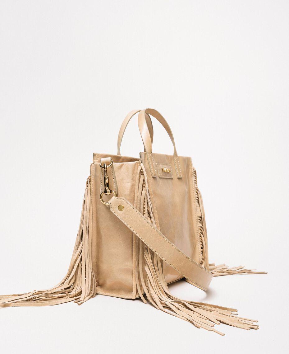 Cabas moyen en cuir avec franges Beige Nougat Femme 201TO8141-01