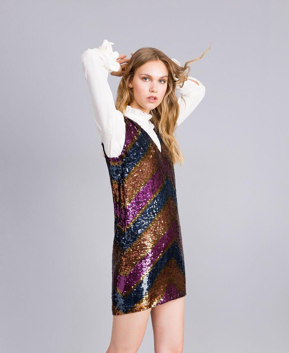 Robe en full paillettes Multicolore Rayure Paillettes Femme TA82DE-01