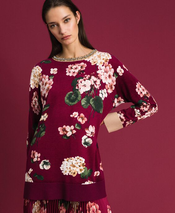 Printed maxi jumper with embroidery