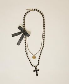 """Necklace with charm, cross and bow """"Nude"""" Beige Woman 202TA4315-02"""