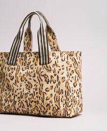 "Canvas beach bag with animal print ""Petra Sandstone"" Brown Animal Print Woman 191LM4UAA-04"