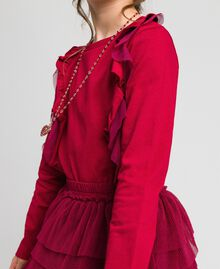 T-shirt with tulle flounces and necklace Ruby Wine Red Child 192GJ2433-05
