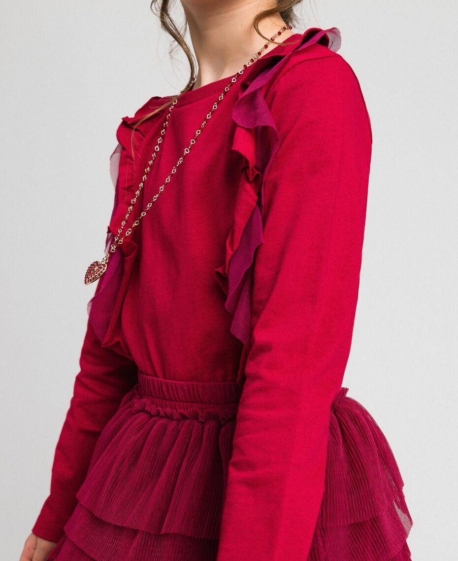 T-shirt con volant in tulle e collana Rosso Ruby Wine Bambina 192GJ2433-05