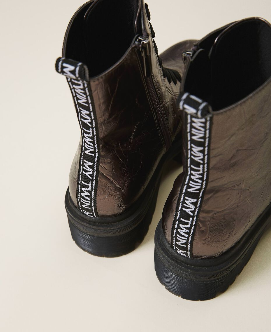 Laminated faux leather combat boots with logo Laminated Anthracite Woman 202MCP082-02
