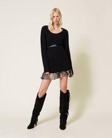 Vestido de mezcla de lana y combinación de flores Bicolor Negro / Estampado Indian Flower Negro Mujer 212TP3510-01