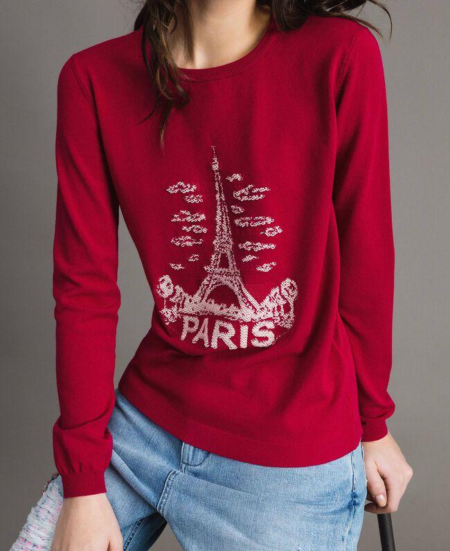 "Paris themed inlay top ""Anemone"" Fuchsia Woman 191TP3381-04"