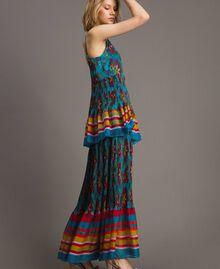 Robe longue en chiffon à imprimé motif floral Multicolore Chiné / Rayures Bleu Céramique Femme 191TT2361-03