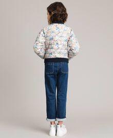 Doudoune réversible ultralégère Bicolore Indigo / Imprimé Étoile Enfant 191GJ2160-03