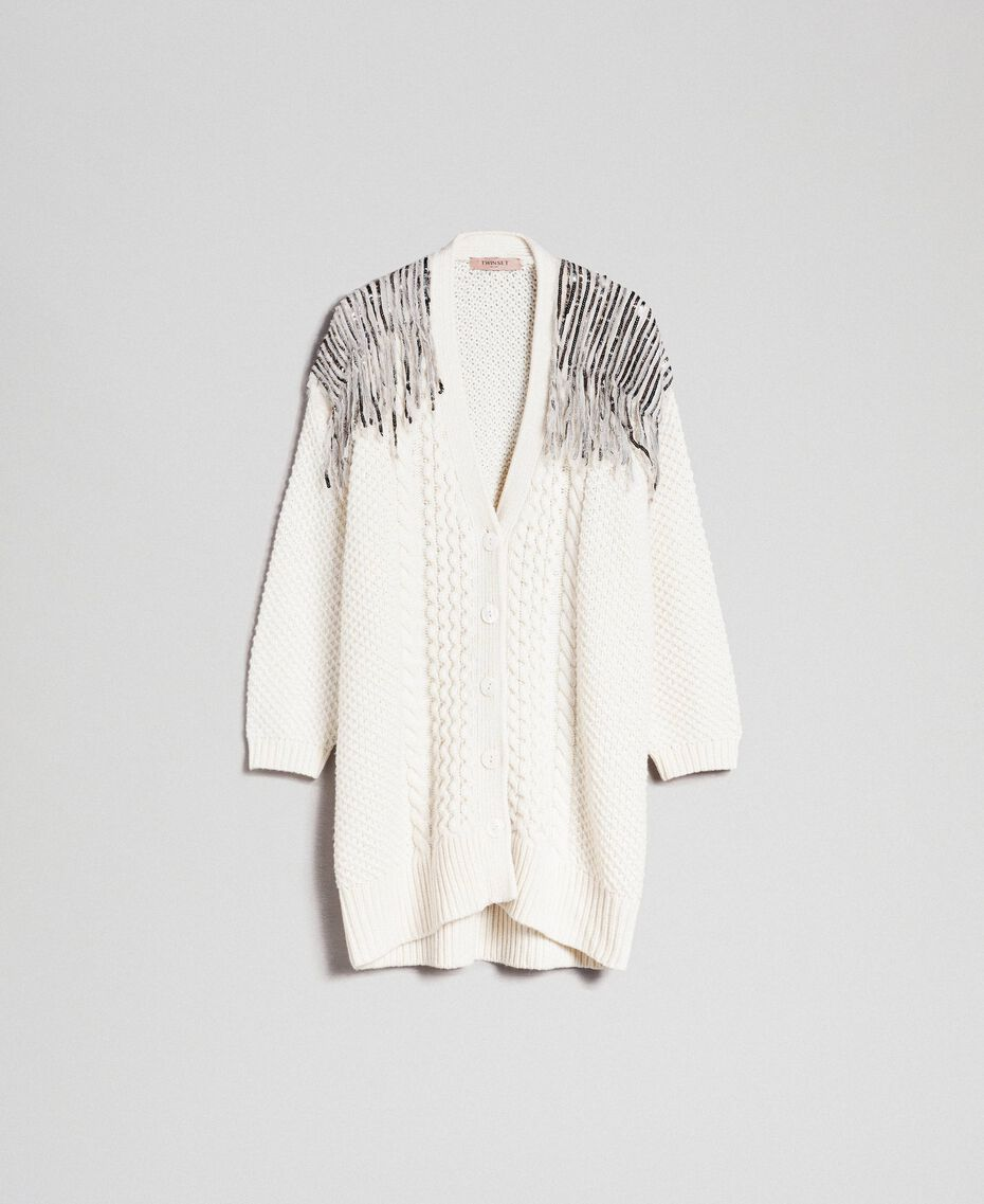 Maxi cardigan with sequins and fringes White Snow Woman 192TT3230-0S