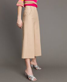Pantaloni cropped in cotone tecnico Beige Nougat Donna 191TP2184-03
