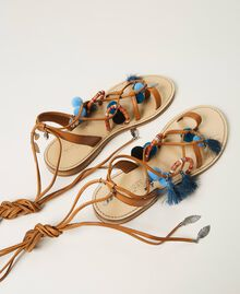 "Leather sandals with pompoms and charms ""Nautical Blue"" / ""Indigo"" Blue / Black Multicolour Woman 211TCT180-03"