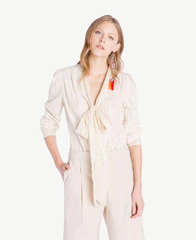 Camicia jacquard Bicolor Grigio Medio Melange / Oro Chiaro Donna TS8261-01