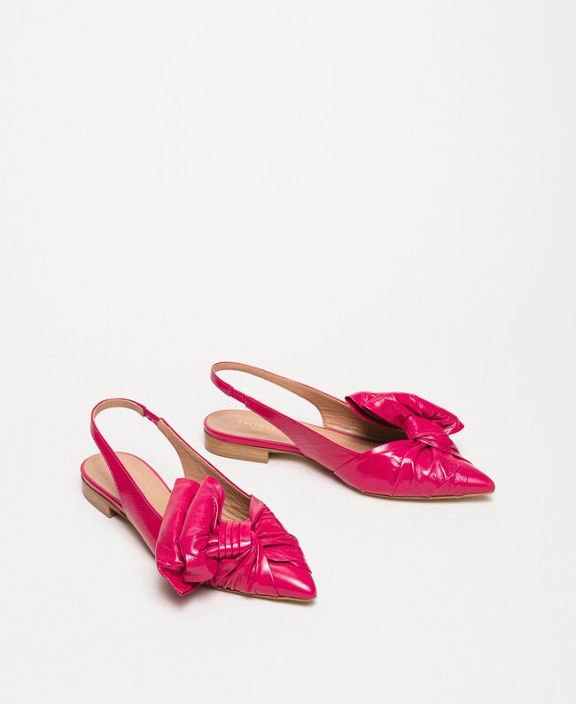 Patent leather ballerina pumps with bow Black Cherry Woman 201TCP110-01