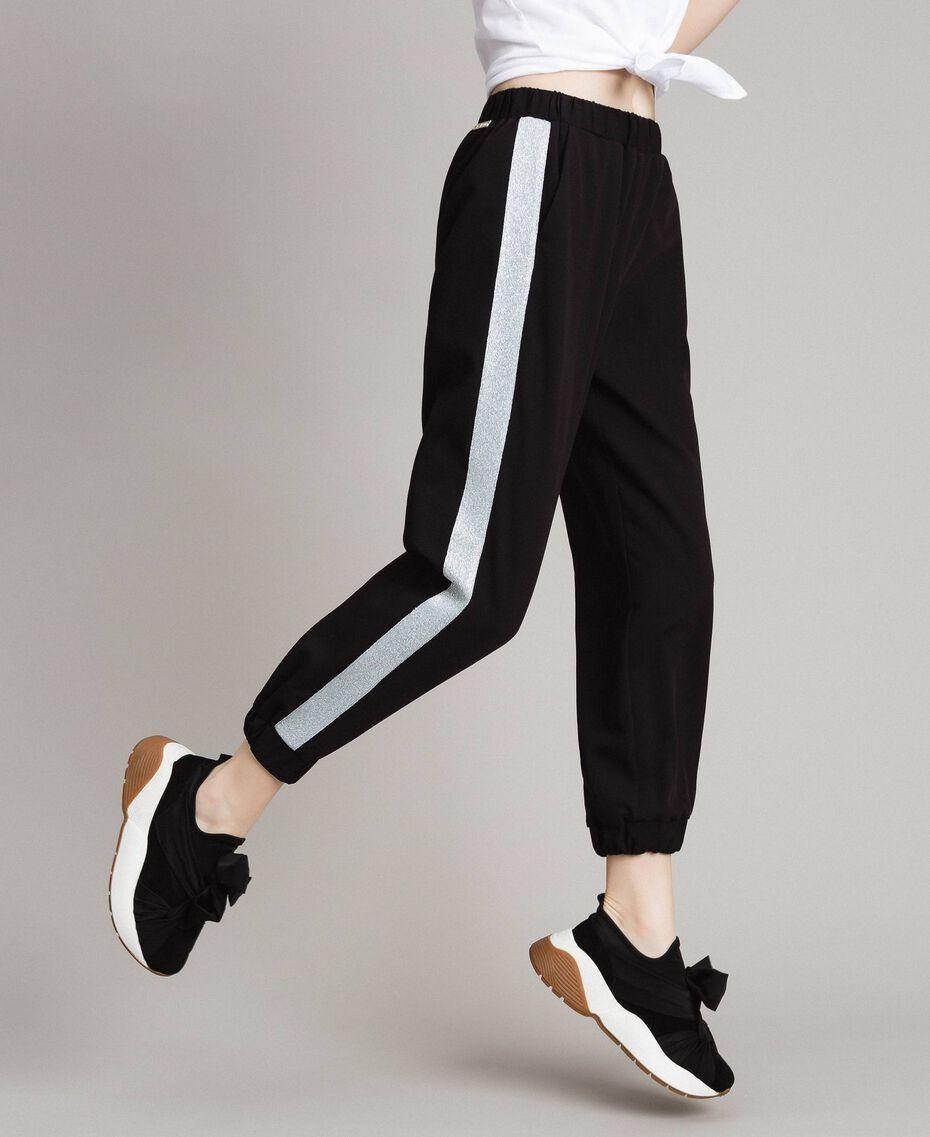 Jogging trousers with lurex panels Black Woman 191LL25KK-02