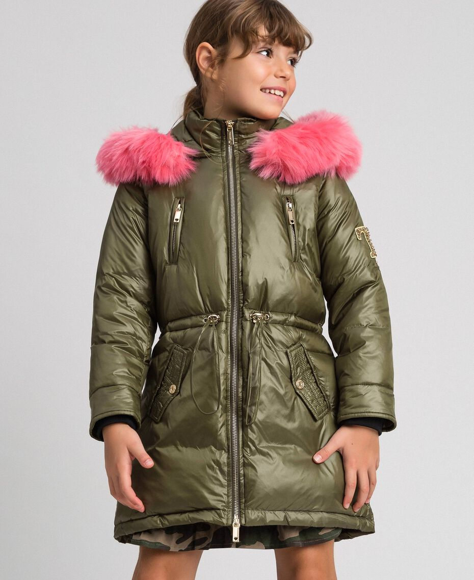 Hooded puffer jacket with faux fur Alpine Green Child 192GJ2072-02