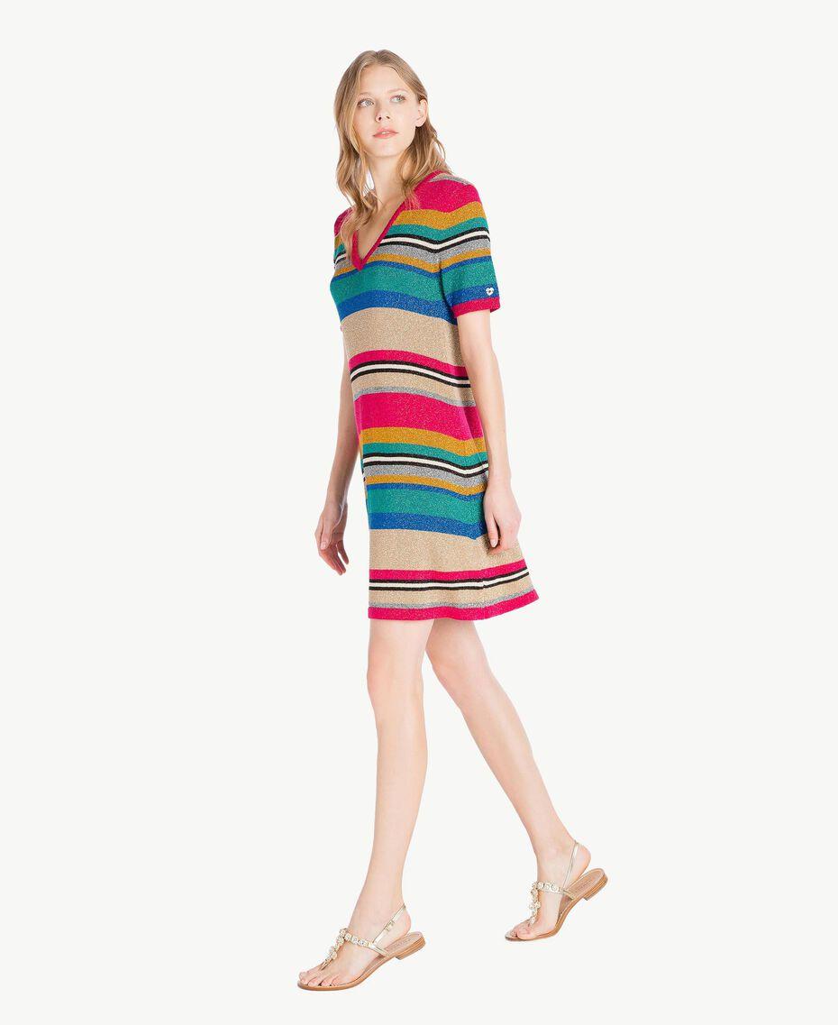 Kleid mit Lurex Multicolor-Lurexstreifen Frau TS833P-02