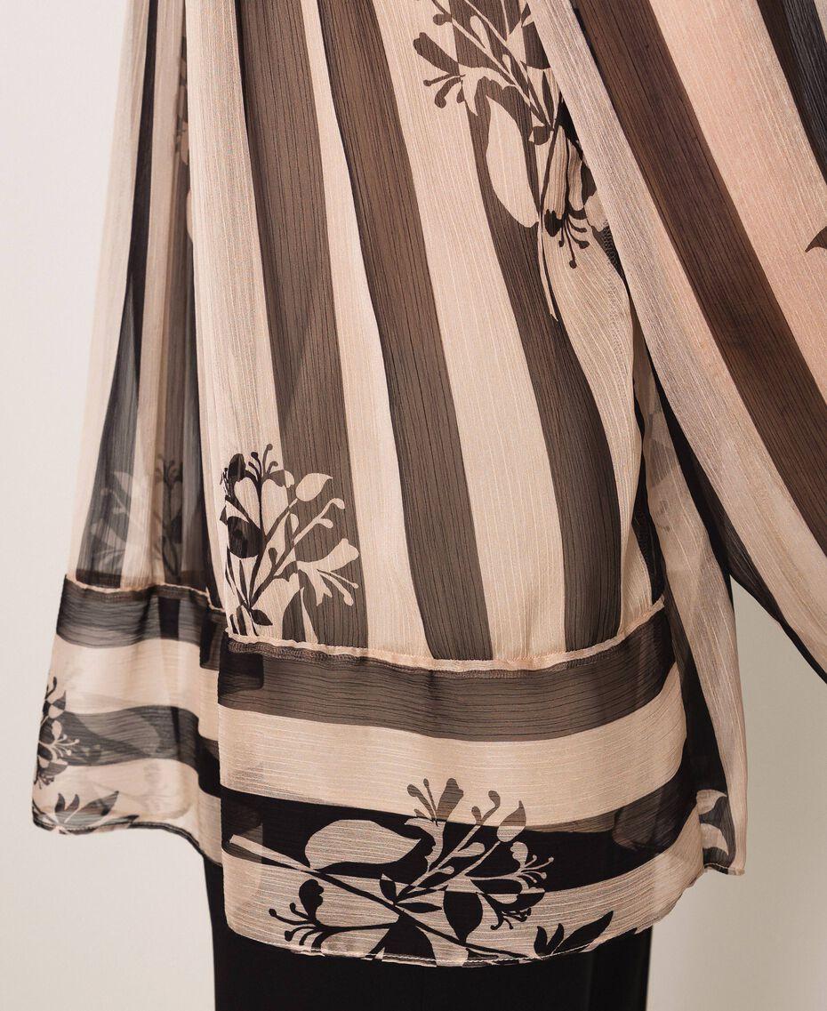 """Рубашка из крепона в полоску и цветочный рисунок Принт Цветок на Полосатом фоне Снег / Красный """"Лава"""" женщина 201TP2302-05"""