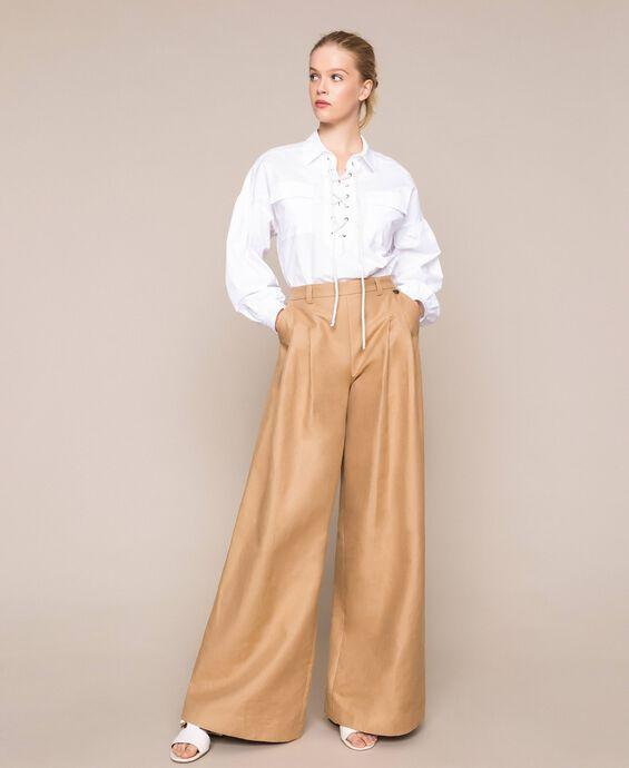 Широкие брюки из смесового льна