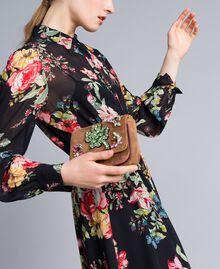 Bolso bandolera de terciopelo con bordado y strass Camel Mujer AA8PBN-0S
