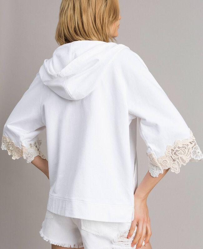 Sweatjacke mit Blumenstickapplikationen Weiß Frau 191TT2211-04
