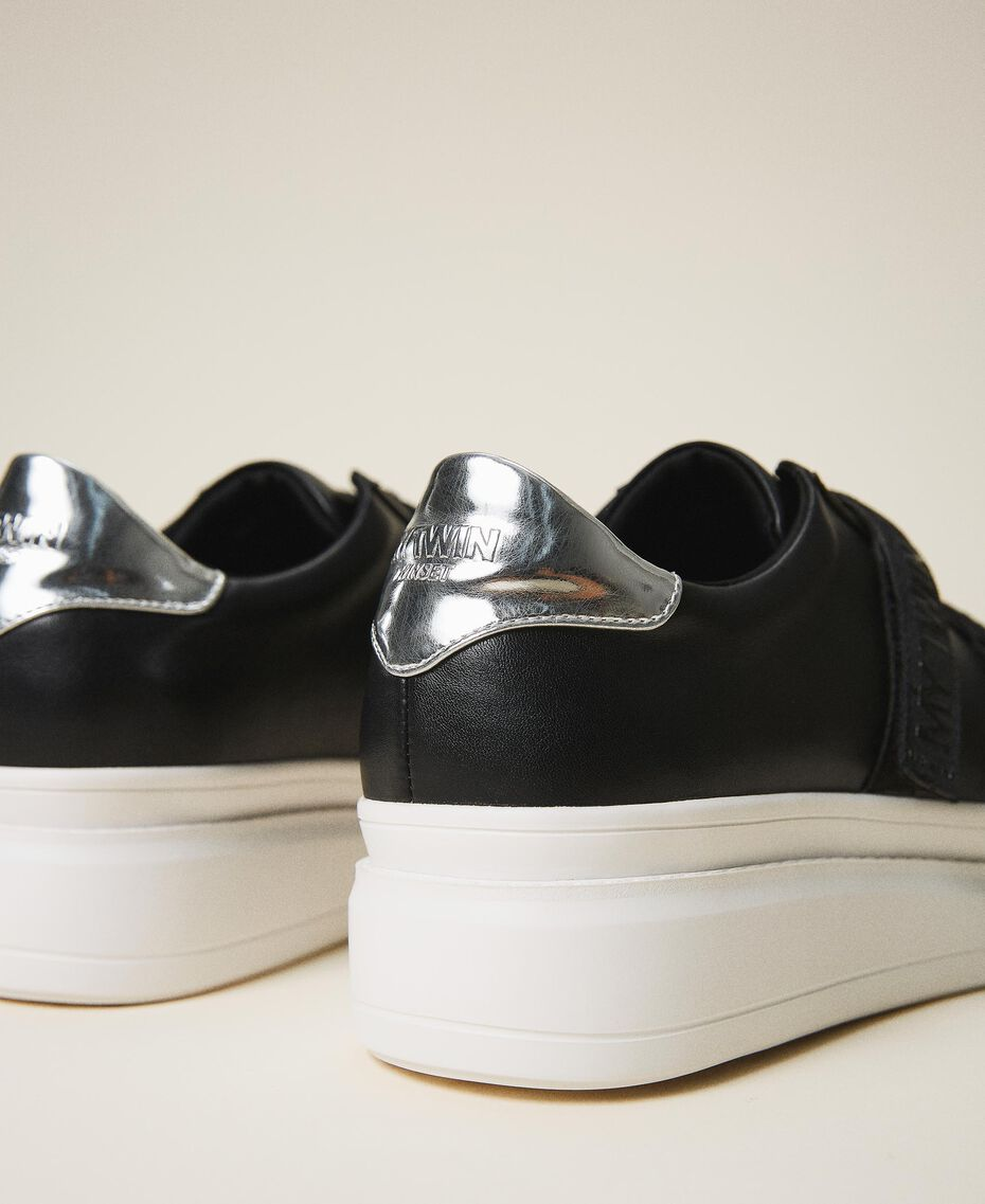Faux leather trainers with logo Black Woman 202MCT010-02