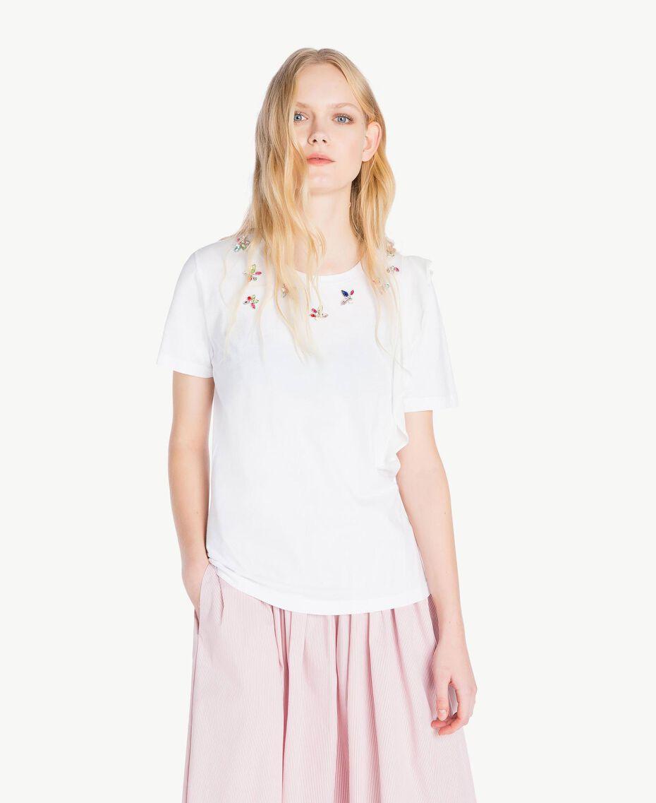 T-Shirt mit Stickerei Weiß Frau JS82RK-01