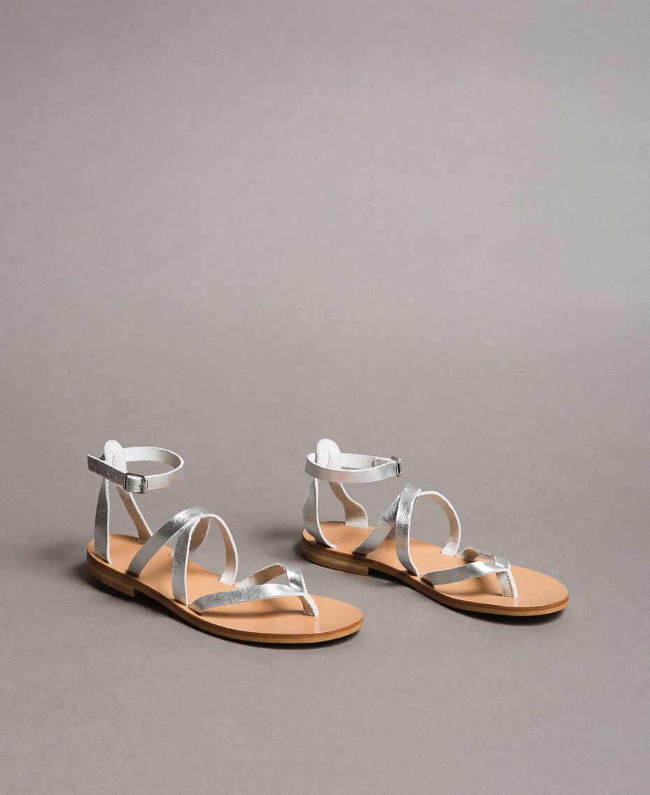 Laminated leather sandals with straps Silver Woman 191TCT09W-02