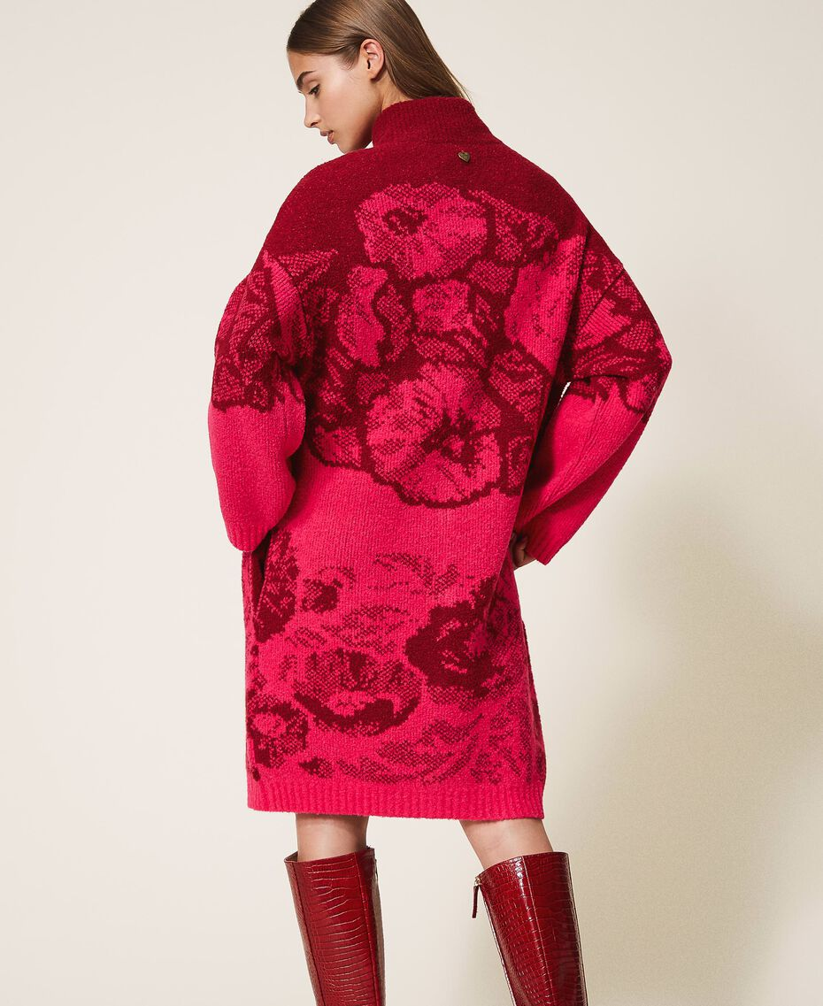 Floral jacquard knit coat Shocking Pink / Cherry Red Jacquard Woman 202TP340A-03
