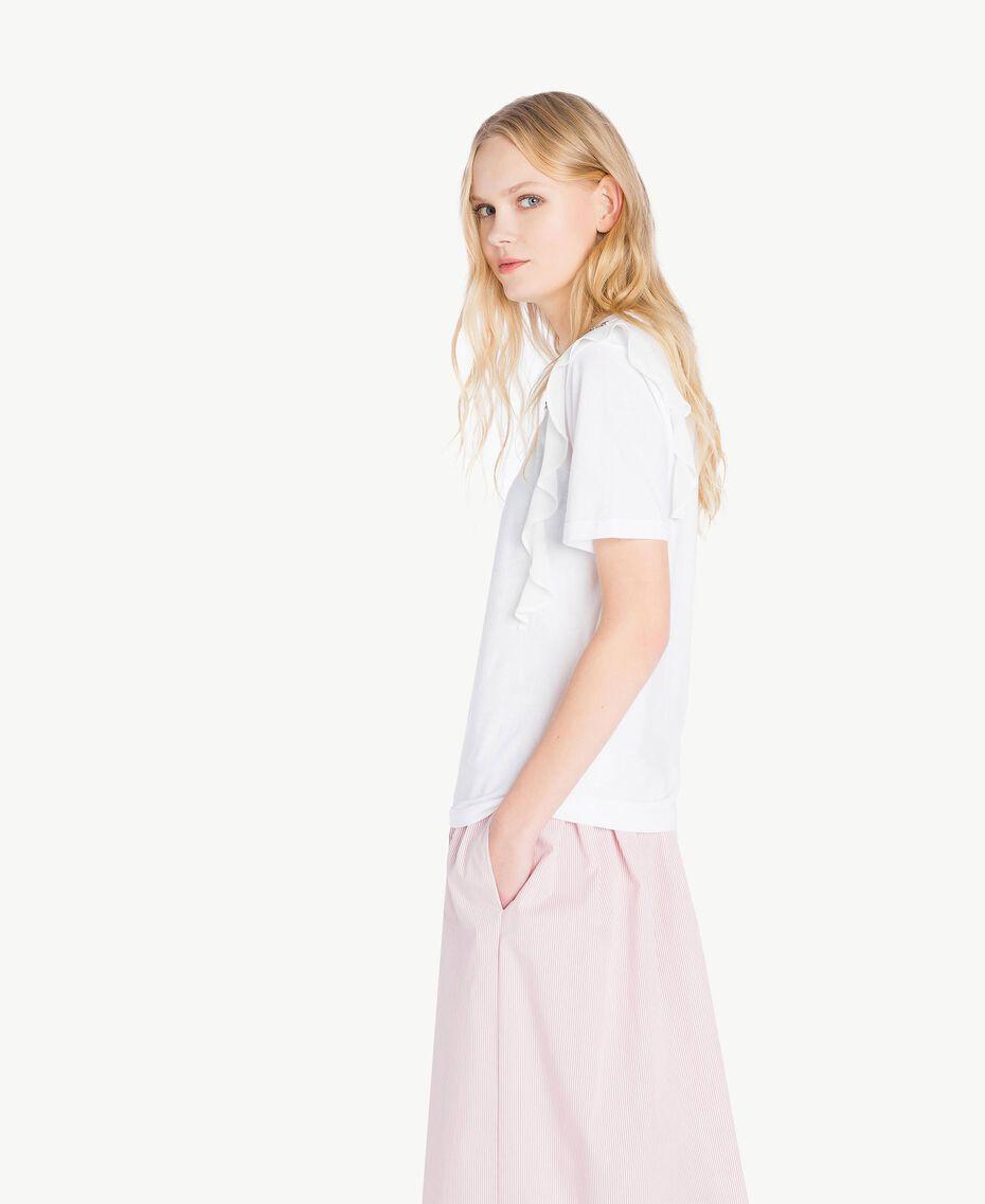 T-shirt broderie Blanc Femme JS82RK-02