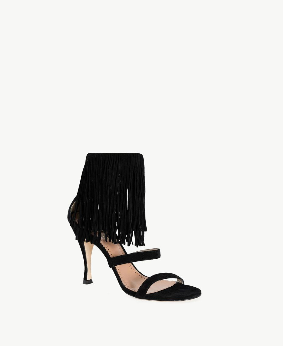 TWINSET Fringe sandals Black Woman CS8TA1-02