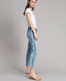 Skinny jeans with fringes Denim Blue Woman 191MT2434-04