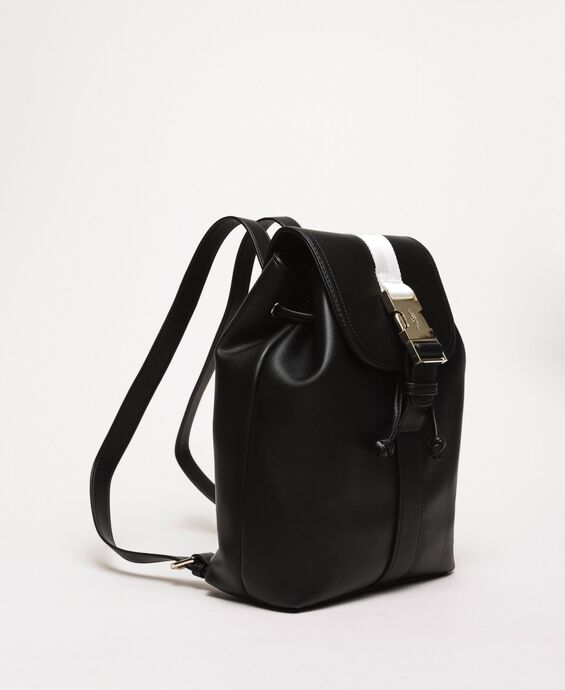 Faux leather backpack with tuck closure