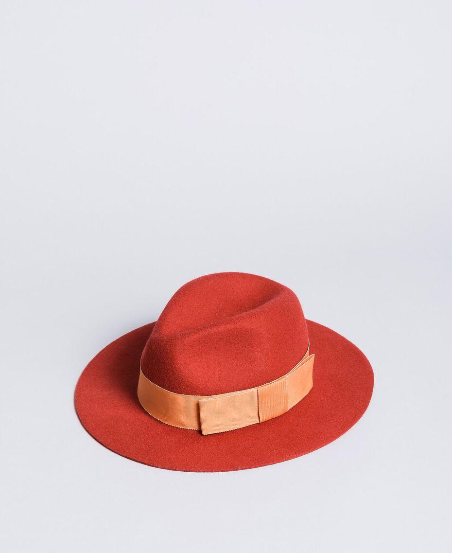 Chapeau avec ruban en contraste Bicolore Orange Brûlée / Rose «Sable Rose» Femme OA8T91-02
