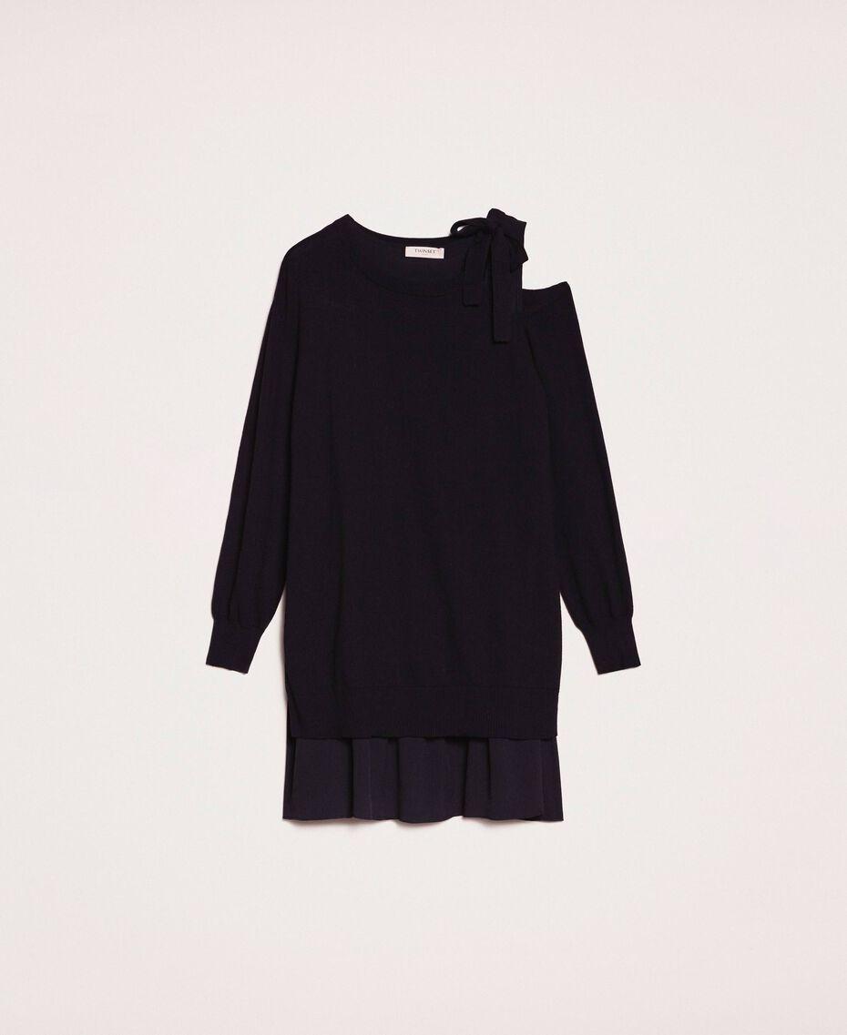 Vestido de mezcla de cachemira con lazo Negro Mujer 201TP3013-0S