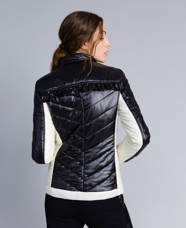 Two-tone quilted nylon padded jacket Bicolour Black / Blanc Woman IA85JJ-04