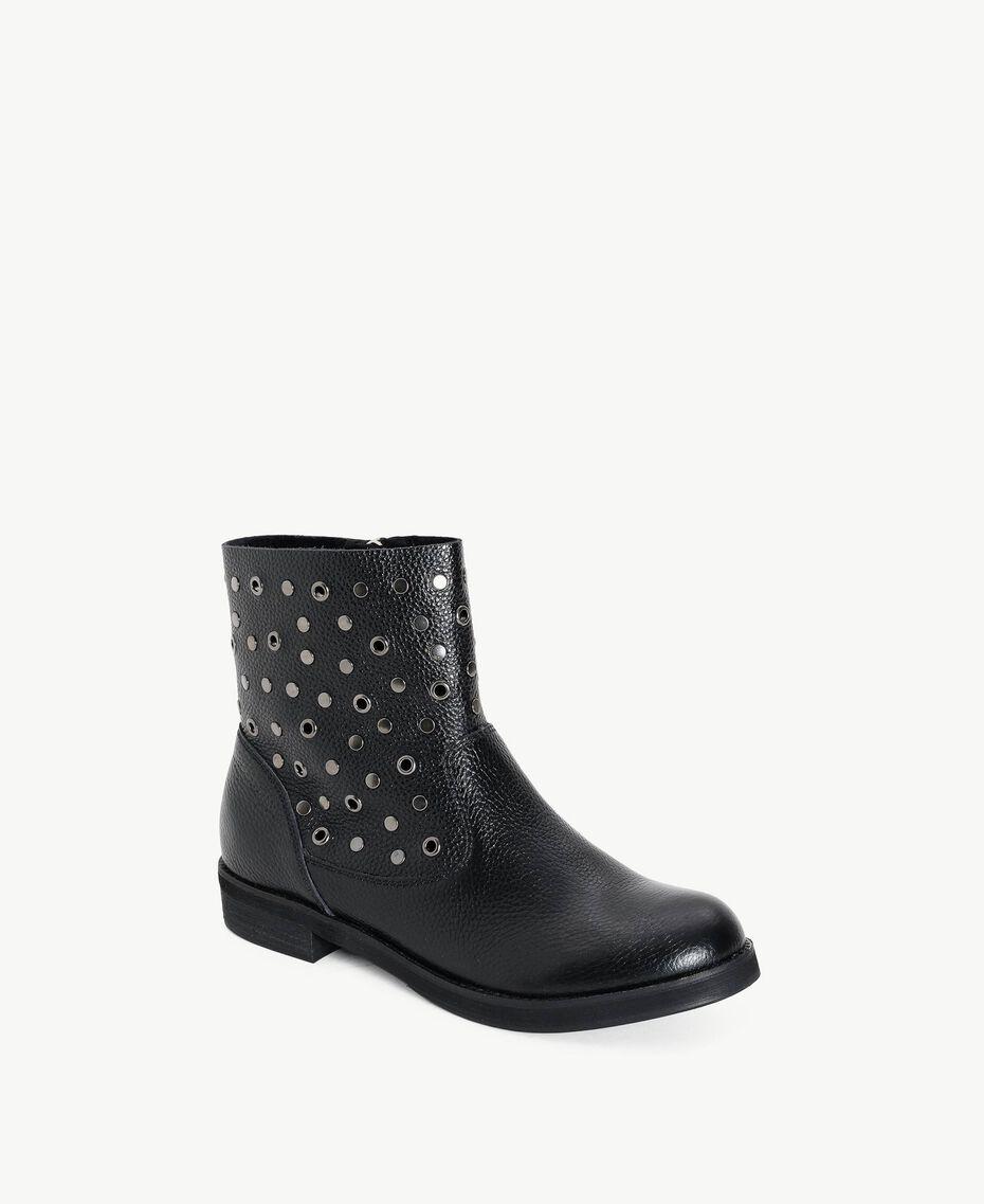 TWINSET Studded biker boots Black Woman DS8PBC-02