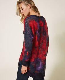 Maxi pull en laine et mohair floral Imprimé Grande Fleur Violet «Vibrant» / Rouge Vénitien Femme 202TT3300-04
