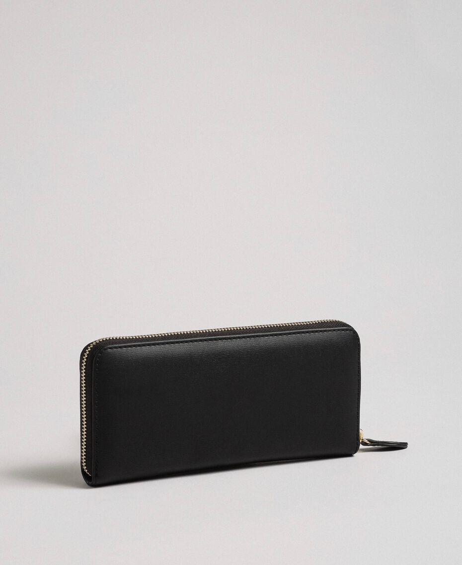 Heart print faux leather wallet Black Woman 192MA7015-02