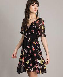Robe en georgette à imprimé papillon Imprimé Papillon Noir Mixte Femme 191TT2394-03
