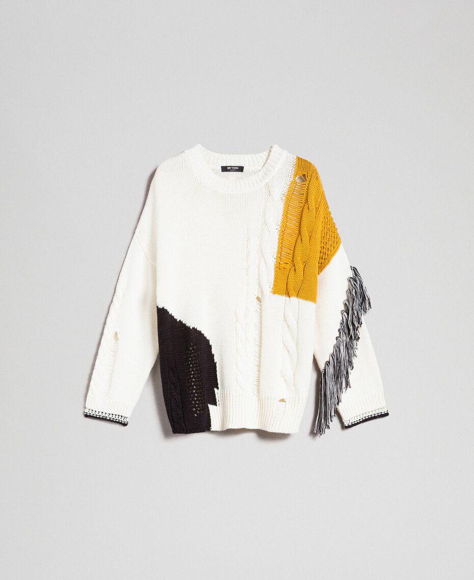 Pullover mit Zopfmuster und Fransen Vanille / Safrangelb / Schwarz Frau 192MP3041-0S