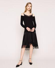 Robe en maille de satin style nuisette Noir Femme 201TP3070-01