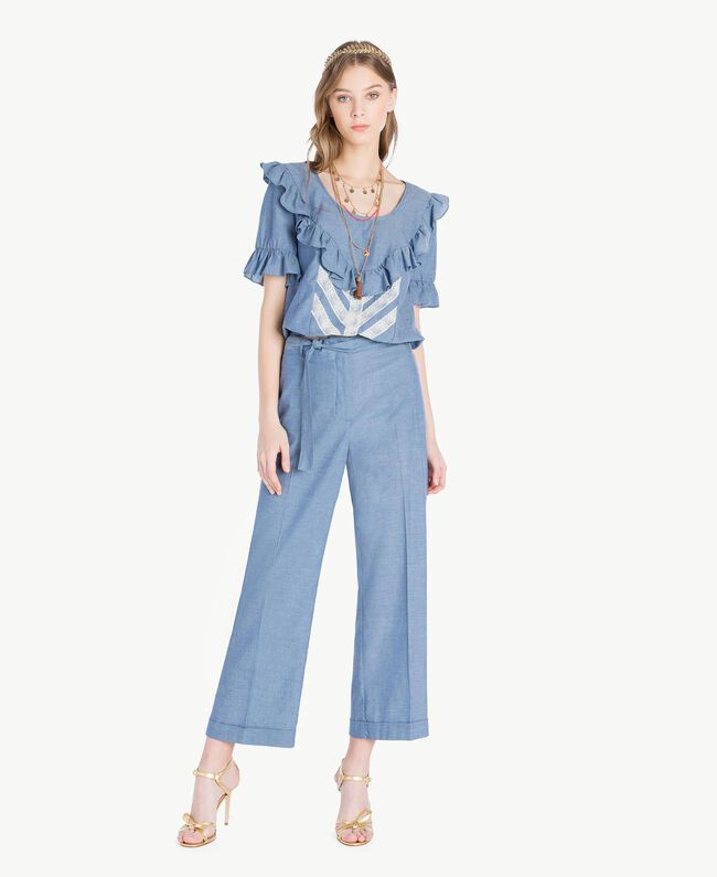 Cropped trousers Light Blue Denim Woman TS82YB-05