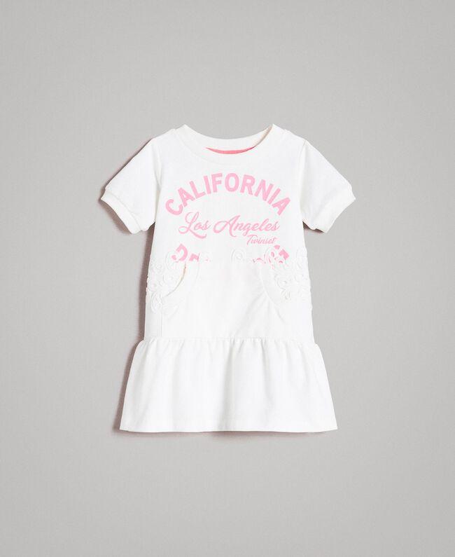 Fleece dress with writing White Child 191GB2041-01