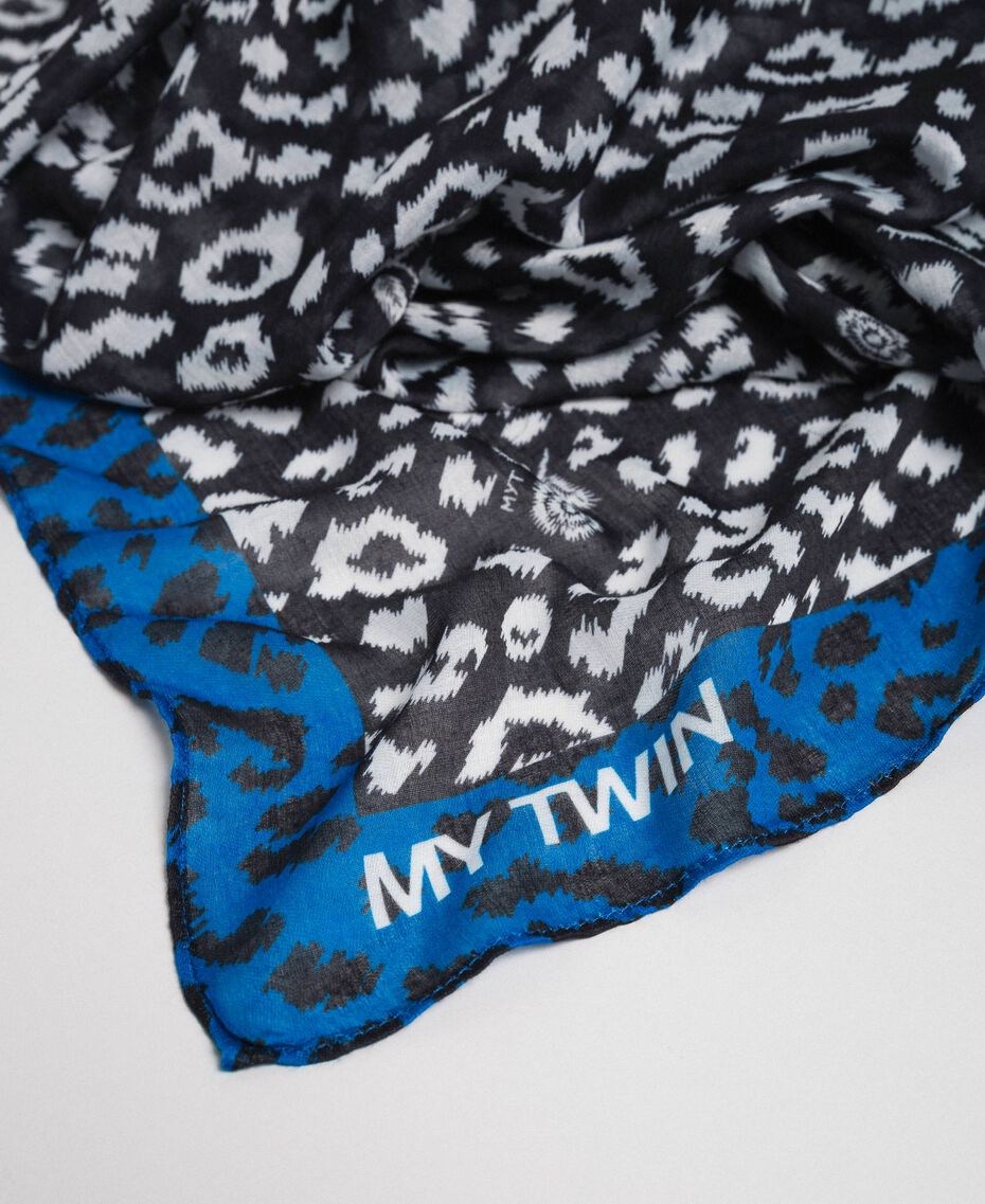 Contrasting animal print scarf Black / Japanese Blue Animal Print Woman 192MA4329-02